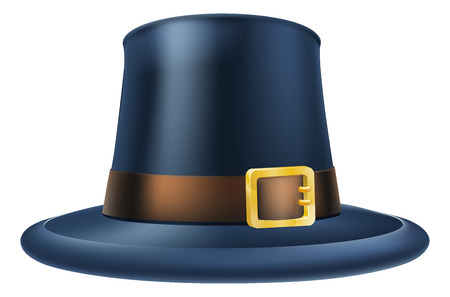 belt buckle: An illustration of a capatain thanksgiving pilgrim puritan hat