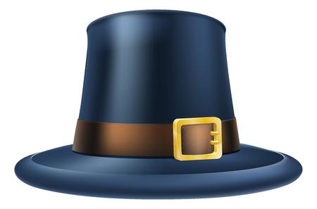 pilgrim: An illustration of a capatain thanksgiving pilgrim puritan hat