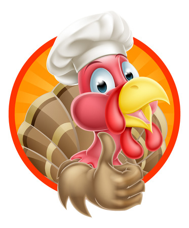 thumbup: Cartoon turkey mascot giving a thumbs up and wearing a chef or cooks hat