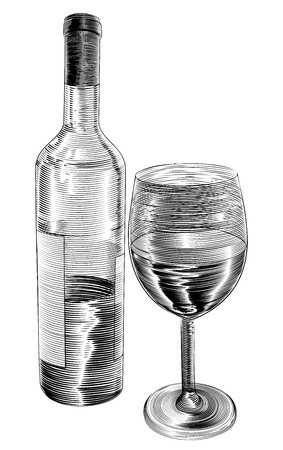 woodblock: An original illustration of red wine bottle and glass of wine in a vintage woodcut woodblock style