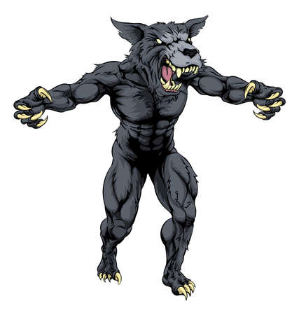 An illustration of a Wolf man, werewolf or wolf sports mascot character with claws out Vector
