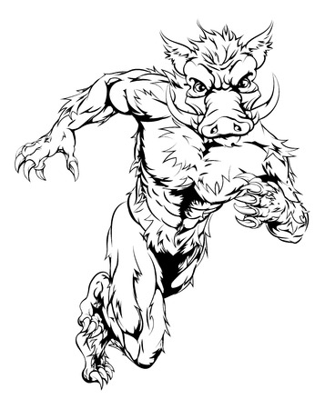 sprinting: An illustration of a boar sports character mascot sprinting