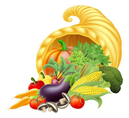 cuernos: Gracias dar o festival de la cosecha Cornucopia cuerno de oro de la abundancia o la abundancia lleno de verduras y frutas