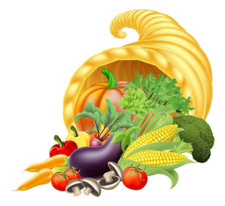 Thanks giving or harvest festival Cornucopia golden horn of plenty or abundance full of vegetables and fruit produce Vector
