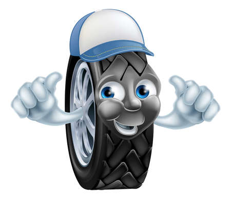 mecanic: Mechanic cartoon tire giving a double thumbs up gesture Illustration