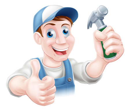 A happy cartoon handyman or carpenter holding a hammer and doing a thumbs up Vector