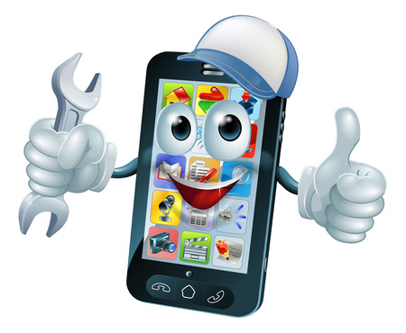 hand holding smart phone: Mobile repair mascot phone mascot person giving a thumbs up while holding a wrench or spanner and wearing a cap Illustration