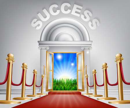 self help: A VIP success door opening to reveal a sunrise and beautiful green landscape. Perhaps a concept for hope for the future. Illustration