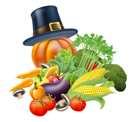 vegatables: A thanksgiving vegatables illustration of a pile of vegetables and a thanksgiving pumpkin wearing a pilgrim or puritan flat topped hat