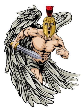 An illustration of a warrior angel character or sports mascot  in a trojan or Spartan style helmet holding a sword Vector