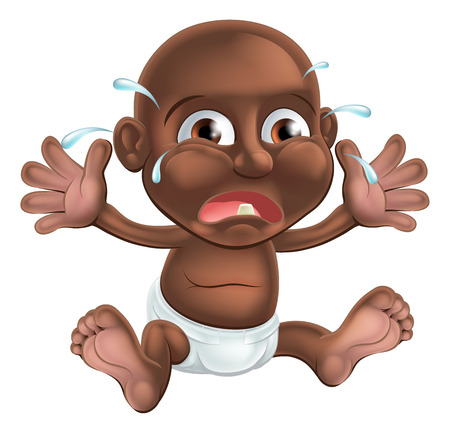black baby boy: An unhappy crying cartoon baby, probably teething as he has one tooth showing Illustration