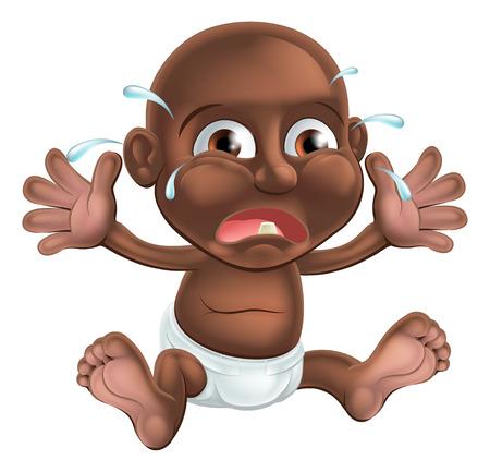 niños negros: Un bebé de dibujos animados llorar infeliz, probablemente la dentición ya que tiene un diente que muestra