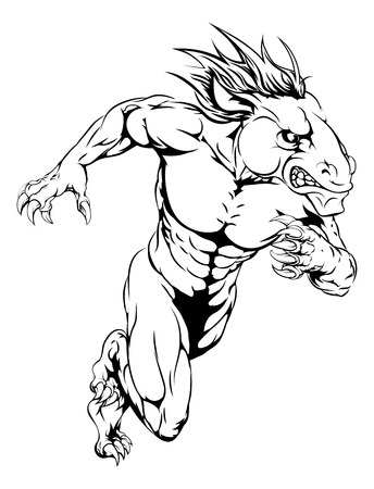 colt: A horse man character or sports mascot charging, sprinting or running Illustration