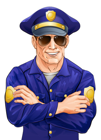 handsom: Una ilustraci�n de un polic�a sonriente feliz en gafas de sol con los brazos cruzados