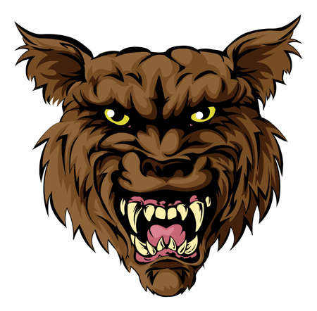 A mean looking werewolf wolf man, or wolf sports mascot character face Vector