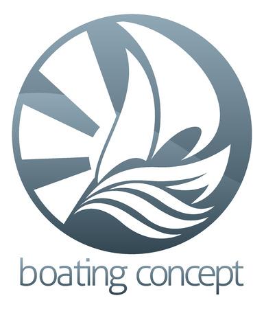 regatta: An abstract illustration of a sail boat ship circle concept design