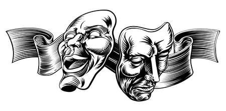 trastorno: Una ilustración original de Teatro Máscaras, la comedia y la tragedia, en un estilo vintage con una cinta o banner