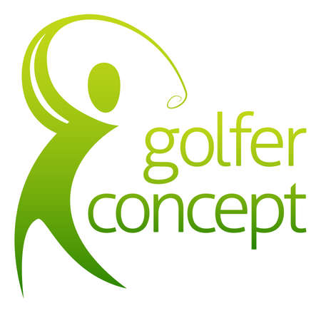 golf hole: An abstract golfer figure swinging his golf club concept