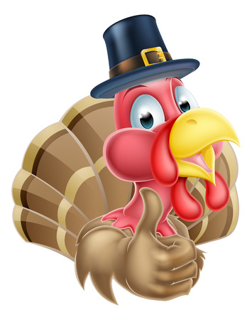 thumbup: Cartoon thanksgiving turkey mascot giving a thumbs up and wearing a pilgrim or puritan hat