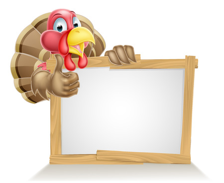 Happy cartoon turkey bird above a sign and giving a thumbs up Illustration