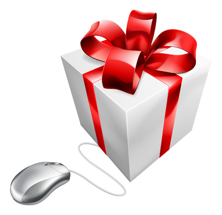 computer mouse icon: Present computer mouse online internet gift shopping concept of a computer mouse connected to a present. Could be concept for vouchers