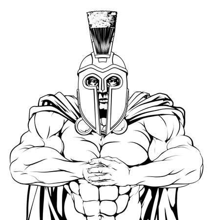 the trojan: A tough muscular spartan or trojan mascot character getting ready for a fight