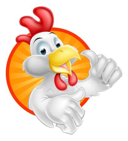 Ein Cartoon-Huhn-Maskottchen mit einer Daumen hoch im Kreis Grafik