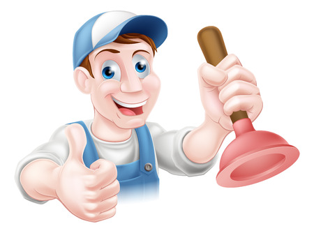 plummer: A handyman or plumber holding a sink or toilet plunger and doing a thumbs up Illustration