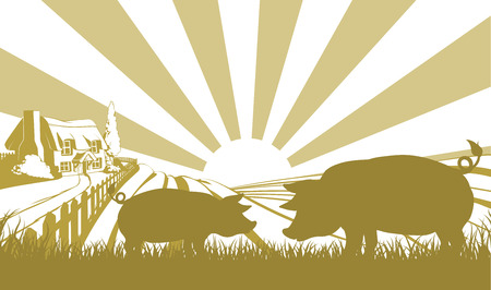 An illustration of a farm house thatched cottage in an idyllic landscape of rolling hills with two pigs in silhouette standing in the foreground Vector
