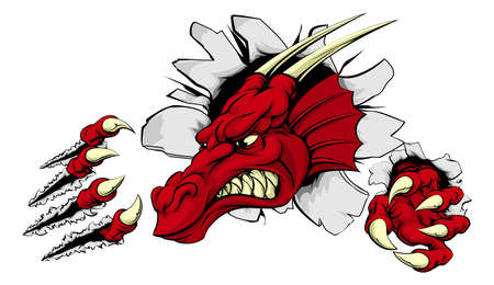 A scary red dragon mascot ripping through the background with sharp claws Vector