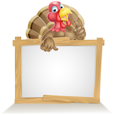 Cartoon turkey bird sign with cartoon turkey bird pointing at sign and giving a thumbs up Vector