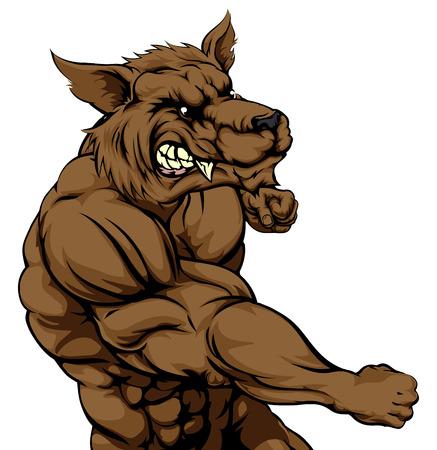 kampfhund: Eine mittlere suchen Werwolf oder Wolfcharakter kämpfen und Stanzen mit der Faust