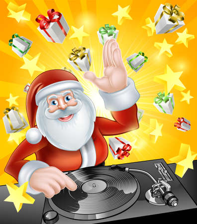 christmas ground: Cartoon Christmas Santa Claus DJ at the record decks with Christmas gift presents in the background