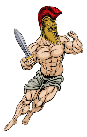 cartoon warrior: An illustration of a muscular strong Roman Gladiator Warrior