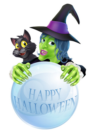 A cartoon Witch black cat and big crystal ball with Happy Halloween on the crystal ball