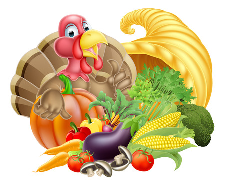 Thanksgiving cartoon turkey bird with cornucopia full of produce Vector