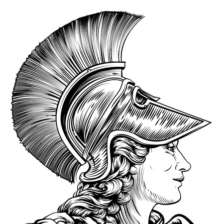 An ancient Greek warrior woman in vintage style. Possible Athena, Hera, or Britannia