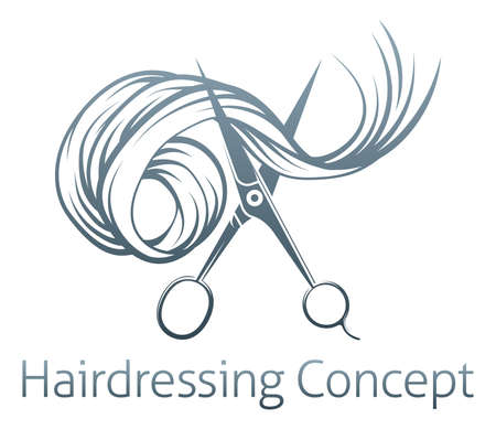 hair cutting: Hairdressers Scissors Concept of a pair of hairdressers scissors cutting Hair