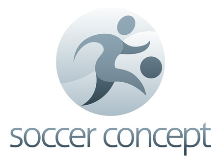 socer: Soccer Sports Concept of a stylised figure kicking a football