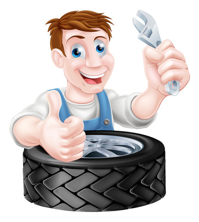 Cartoon mechanic with car tire giving a thumbs up and holding a spanner or wrench Vector