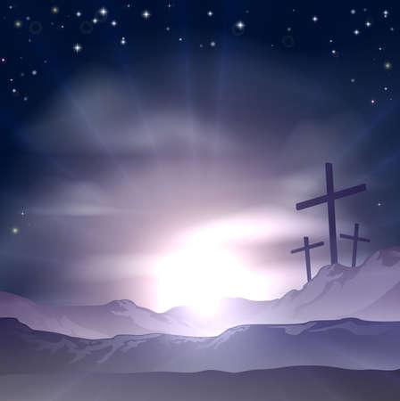 pasqua cristiana: Christian concetto Pasqua di tre croci su una collina