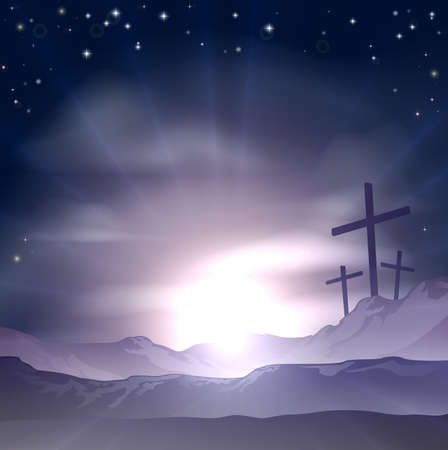 Christian Easter concept of three crosses on a hill Vector