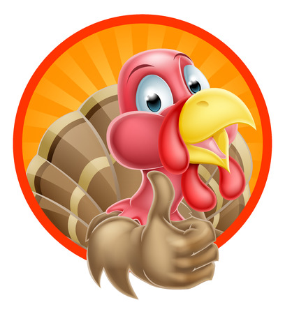 thumbup: Cartoon turkey mascot giving a thumbs up design in a circle Illustration