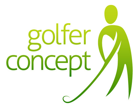 Golfer concept abstract of a golfer about to hit a golf ball Vector