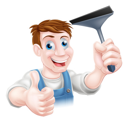 squeegee: A window cleaner holding a squeegee and giving a thumbs up Illustration