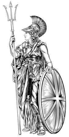 diosa griega: Una ilustración original de Britannia, personificación de Gran Bretaña, la celebración de una Unión Jack Escudo y tridente en un estilo de grabado de la vendimia