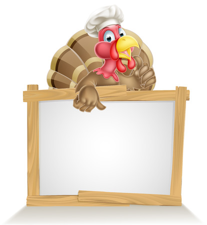 funny turkey: Thanksgiving or Christmas sign with cartoon turkey bird wearing a chef or cook hat Illustration