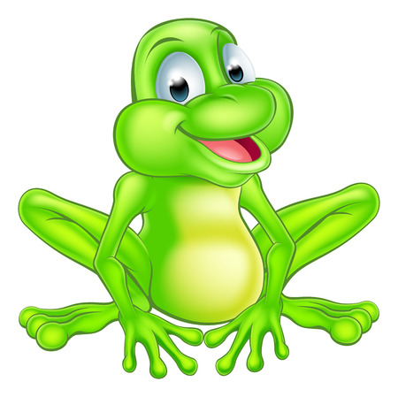 An illustration of a cute cartoon frog mascot character