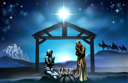 star of bethlehem: Traditional Christian Christmas Nativity Scene of baby Jesus in the manger with Mary and Joseph in silhouette and wise men in the distance with the city of Bethlehem