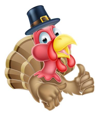 aliments droles: Cartoon thanksgiving dinde caract�re donnant un coup de pouce et coiff� d'un chapeau puritaine Illustration